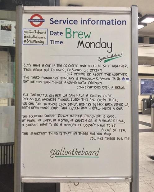 London Underground notice board poem about Brew Monday