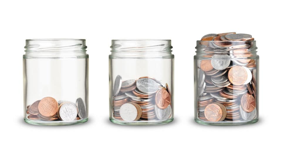 Jars with different level of coins